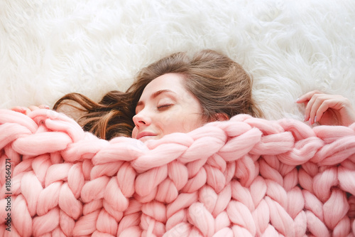 Young Woman Sleeping Under Warm Peach Color Throw Blanket Stock Simple Peach Colored Throw Blanket
