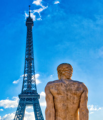 Fototapete - The Eiffel Tower in paris on a beautiful sunny day. View from Trocadero