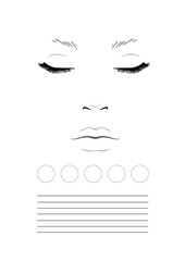 Face chart Makeup Artist Blank. Template.