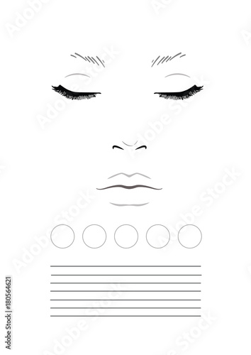 Face Chart Makeup Artist Blank Template Stock Photo And Royalty
