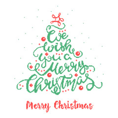 Merry Christmas - cross stitched inscription. A quote written in the form of a Christmas tree. Greeting card