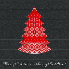 christmas knitted tree card wooden
