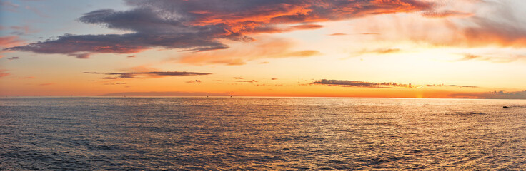 Sunset over Adriatic Sea with dramatic sky panorama
