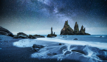 The Rock Troll Toes. Reynisdrangar cliffs. Black sand beach. Iceland