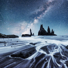The Rock Troll Toes. Reynisdrangar cliffs. Black sand beach. Iceland