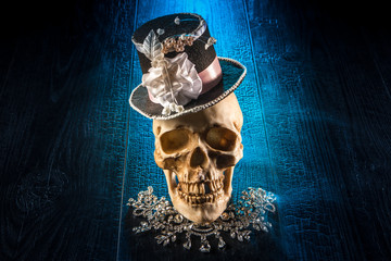 Skull in the cylinder. The skull of a man in a female hat.
