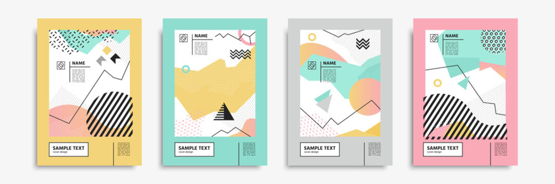 Cover set in memphis, bauhaus, hipster, geometric style. Vector templates for posters, placards, banners, brochures, presentations, covers, leaflets, catalogs. Geometric abstract backgrounds.