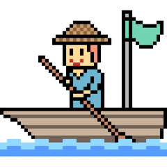 vector pixel art man boat