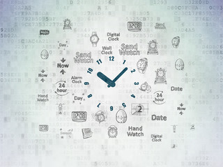 Time concept: Painted blue Clock icon on Digital Data Paper background with  Hand Drawing Time Icons