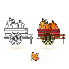 Cute cart, pumpkin and leaf. Thanksgiving icons set.