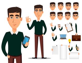 Business man cartoon character creation set.