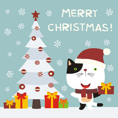 Merry Christmas! Cute kitten cat with gift near the Christmas tree. Greeting card with funny kitten cat in cartoon style.