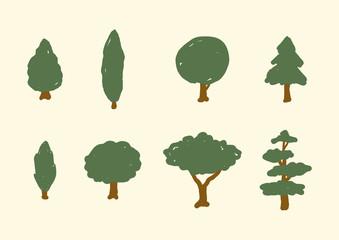 Set of Natural Stylized Tree