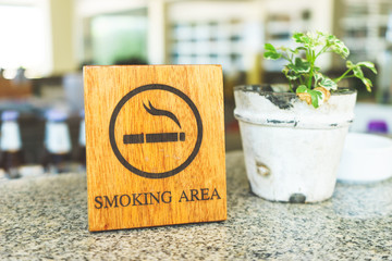 Wooden Smoking Area with Mini Tree Pot