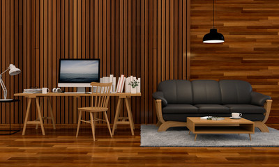 3D rendering of interior modern living room workspace with sofa, desk, laptop computer and green plants