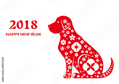 chinese zodiac dog red paper cut designyear of the dog happy chinese new