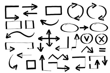 Handdrawn arrows vector set drawn by hand. Isolated vector illustration on white background.