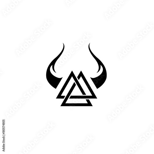 Simple Tattoo Triangle With Horn Design Stock Image And Royalty