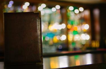 Mock up Menu frame on the blurred background of the bar