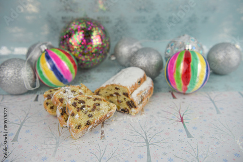 Christmas Food Photography Picture With European German Stollen