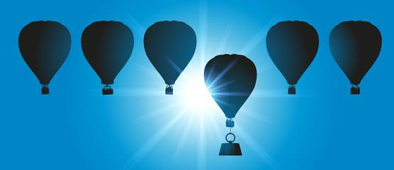 montgolfière - concept - handicap - fardeau - concurrence - leadership - symbole - désavantager
