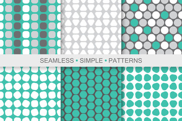 Collection of colorful seamless geometric patterns. Simple digital backgrounds