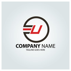 Letter U logo design template. vector illustration