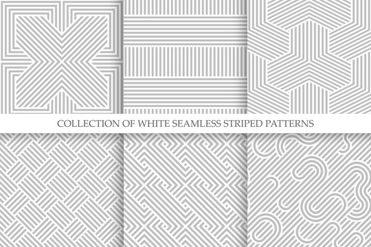 Collection of seamless striped patterns. White and gray repeatable wicker texture