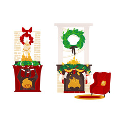 vector christmas holiday room, decorated with candles, spruce tree wreath, bow and stars fireplaces with christmas stockings, armchair with pillow near carpet. Isolated illustration white background.