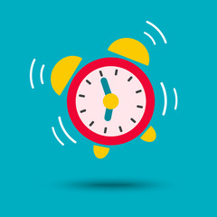 Wake up icon vector. Alarm clock in bright color.