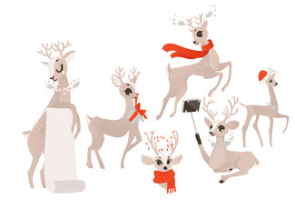 vector flat cartoon christmas reindeer holding blank paper scroll, deer in red scarf head and holding present box. making selfie and having fun winter holiday animal set. Isolated illustration