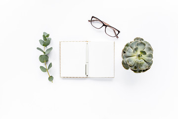 diary, pen, green leaves eucalyptus and glasses on white background. flat lay, top view