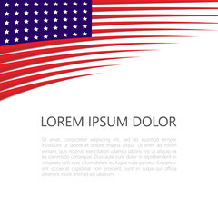 Banner with American national flag. Space for writing text. Vector illustration.