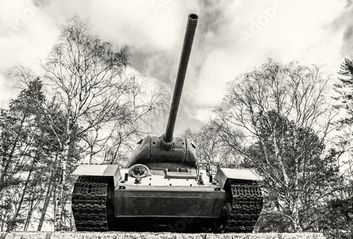 Soviet tank T-34 of the World war II, Kezmarok, Slovakia, colorless