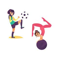 9d9314ac0 vector cartoon stylized girls doing sport set. cute young teen girl ...