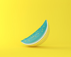 Colorful watermelon on yellow pastel background. minimal idea food concept. An idea creative to produce work within an advertising marketing communications or artwork design.