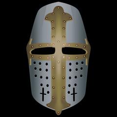 3d medieval Topfhelm helmet. Helmet with horizontal viewing slot on black background