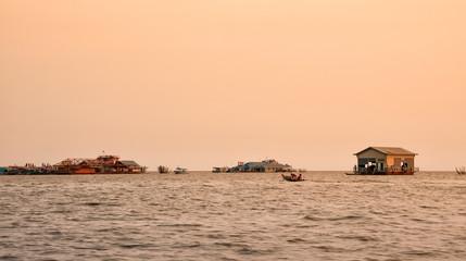 Vietnamese floating village on Lake Tonle Sap, Cambodia