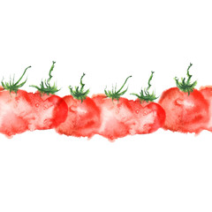 Watercolor red tomatoes on a white background. Seamless linear pattern, border. Art illustration, illustration, logo. Watercolor painting.