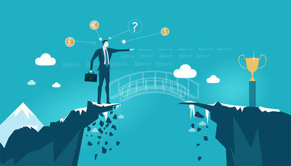 Businessmen staying on the edge of canyon and pointing at the golden trophy. Imaginative bridge and design making business concept illustration