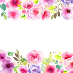 Wildflower eustoma flower frame in a watercolor style. Full name of the plant: eustoma, marigolds, tagetes. Aquarelle wild flower for background, texture, wrapper pattern, frame or border.
