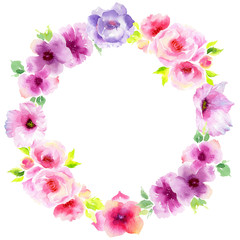 Wildflower eustoma flower wreath in a watercolor style. Full name of the plant: eustoma, marigolds, tagetes. Aquarelle wild flower for background, texture, wrapper pattern, frame or border.
