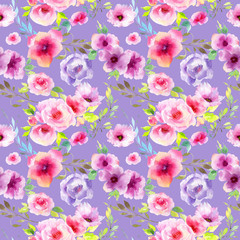 Wildflower eustoma flower pattern in a watercolor style. Full name of the plant: eustoma, marigolds, tagetes. Aquarelle wild flower for background, texture, wrapper pattern, frame or border.