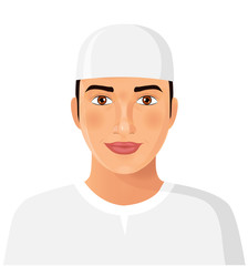 Young iran arab man avatar in traditional hat isolated face portrait vector Illustration