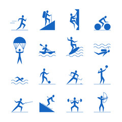 Cartoon Outdoor Activities Sports Games Blue Icons Set. Vector