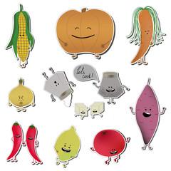 Food emoji stickers. VEctor illustration of vegetable cooking.