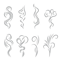 Smoke Steam Vapor Signs Black Thin Line Icon Set. Vector