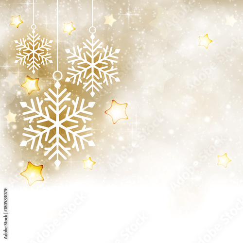 white golden winter christmas background with snowflakes and stars
