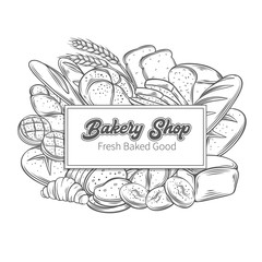 Food template banners with bread