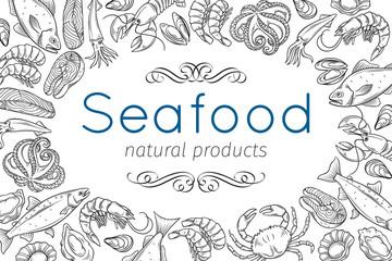 hand drawn seafood design
